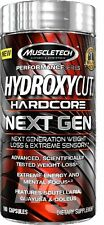 MuscleTech Hydroxycut Hardcore Fat Burner 100 caps Buy 2 get 20 Caps FREE TATTOO