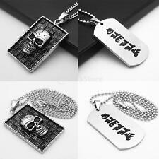 Rectangle Stainless Steel Shield Gothic Punk Hip Hop Fashion Pendant Necklace