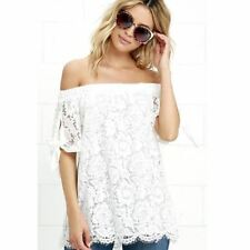 New White Color Off Shoulder Lace Fashion Summer Style Blouse For Women