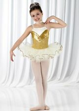 Memories Dance Costume Glitter Gold Short Ballet Tutu Clearance Child and Adults