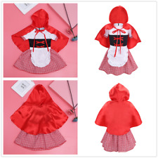 Baby Girls Halloween Party Dress Costume Plaid Dress Hooded Cloak Outfit Clothes