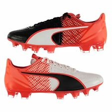 Puma evoSpeed 3.5 Leather FG Firm Ground Football Boots Mens Blk/Rd Soccer Shoes