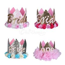ONE/Bride Crown Flower Tiara Headband for Baby Girl Party Hair Bands Accessories