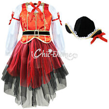 Christmas Girls Kids Fancy Top Dress Hat Halloween Cosplay Party Costume Outfit