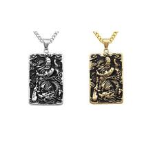 Men Fashion Stainless Steel Guan Yu Engraved Dog Tag Pendant Chain Necklace