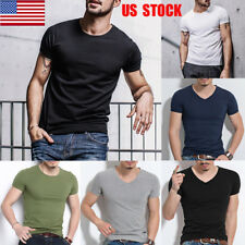 US Men Boys Slim Fit Short Sleeve Basic Tee V-Neck/ Crew Neck T-Shirt Muscle Top