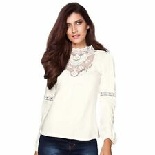 Plus Size Stand Collar Lace Decorated White Collar Blouse For Women