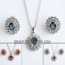 A1-S052 Fashion Simulated Gemstone Earrings Necklace Set 18KGP CZ Crystal