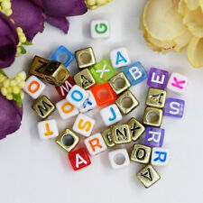 "6/7mm 1/4"" Loose Square Acrylic Plastic Mix Alphabet Letter Beads Cube Loom Name"
