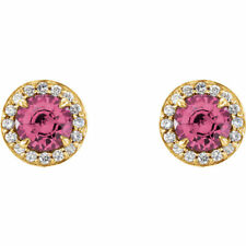14K Gold Pink Tourmaline & 1/8 (or 1/6) CTW Diamond Halo Earrings Made to Order