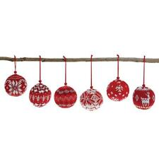 Sweater Knit Set of Six Round Unbreakable Red Ornament Assortment on Jute Hanger