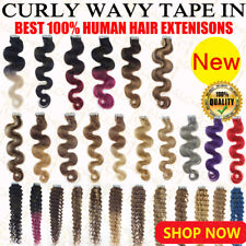 New Tape In Remy Human Hair Extensions Top 18Inch body wavy & curly PU Skin Weft