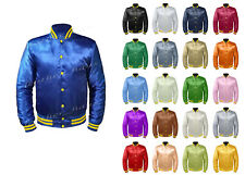 Original American Varsity Letterman College Baseball Bomber Men Satin Jackets