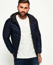Superdry Mens Micro Quilt Down Hooded Jacket in Navy Blue RRP £95