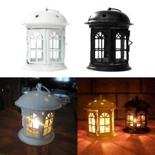 Wrought Iron Hanging Lantern Tealight Candle Holder Candlestick Yard Patio Decor