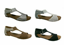 Ladies Shoes Step on Air New Avery Flat Sandals Geometric Detail Heel Size 6-10