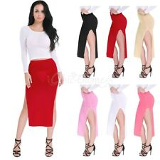 Women Skirt Sexy See Through High Slit Sheer Voile Transparent Pencil Club New