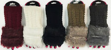 WOMEN'S CABLE KNIT FINGERLESS WINTER GLOVES WITH FAUX FUR TRIM EXCELLENT QUALITY