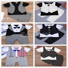 Toddler Kids Baby Boy Gentleman Clothes T-shirt Romper Tops+Pants Outfits Sets