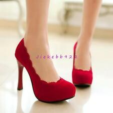 Fashion Womens Party Pumps Faux Suede High Heel Platform Sweet Round Toe Shoes