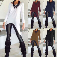 5 Colors Women Long Sleeve Asymmetric Stretchy Tops Casual Loose Blouse T Shirt