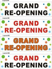 3ftX10ft Custom Printed GRAND RE-OPENING (Reopening) Banner Sign (Bubbles BG)