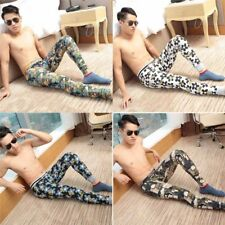 Men Print Cotton Underwear Leggings Bodysuit Long Johns Home Pants Thermal Pants