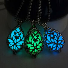Vintage Hollow Out Water Drop Pendant Necklace Luminous Glow Bright In Dark HG