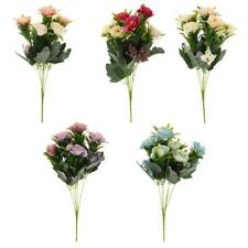 1 Bunch Wedding Artificial Silk Rose Flower Bouquet Home Party Decor 5 Color