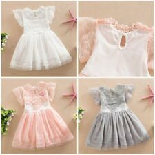 Summer Baby Kids Girls Lace Crochet Princess Dress Pageant Party Tulle Dress UK