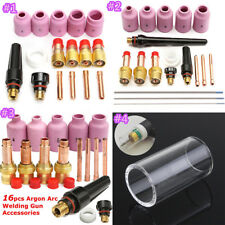 16/18Pcs TIG Welding Torch Stubby Cups Gas Lens Kit For Tig WP-17/WP-18/WP-26