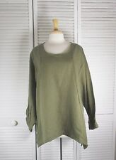Stitch Long Sleeve Flax Linen Top in 18 colors S M L XL  by Blue Fish Red Moon