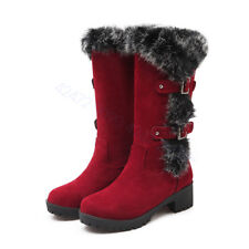 NEW Womens Med Heel Knee High Boots Shoes Cuban Warm Buckle AU Size YDXS0021