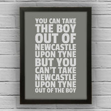 NEWCASTLE UPON TYNE - BOY/GIRL FRAMED WORD TEXT ART PICTURE POSTER