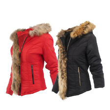 25248 Ladies Quilted Jacket with Hood Faux Fur Winter Winter Jacket Winter Coat