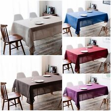 IMEA HOME Solid Faux Linen Water Repellent Fabric Tablecloth 55x55 inch