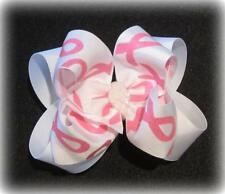 Girls Boutique hairbows, Awareness Ribbon pink Glitter Hair Bow, Double Hairbows