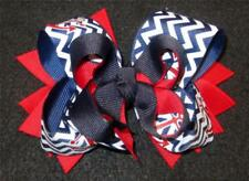 Nautical Anchor Chevron Boutique Hair Bow 3 layers Funky Hairbows Big 5 inch ""