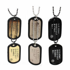 Military Army Style Black 2 Dog Tags Chain Mens Pendant Necklace(Cannot write)