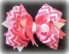 """chevron hairbow pink hair bow boutique stacked hairbows big large triple bow 5"""""""