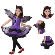 3pcs Girl Halloween Purple Bat Princess Dress Wing Headband Cosplay Costume Sets