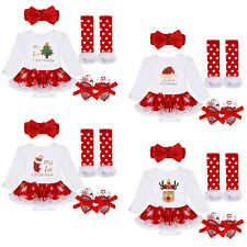Christmas Infant Baby Girl Romper Outfits Headband Shoes Legging Clothes Set