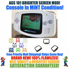 Nintendo Game Boy Advance GBA White System AGS 101 Brighter Backlit Mod MINT