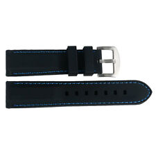 20/22/24/26mm Watch Strap Band Black Silicone Rubber Blue/Yellow/Orange Stitch