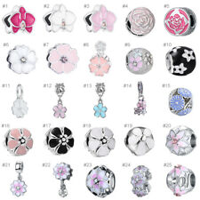 New European Silver CZ Lucky Flower Charm Beads Pendant Fit 925 Bracelet Chain