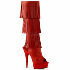 Pleaser DELIGHT-2019-3 Red Faux Leather/Red Matte Boots