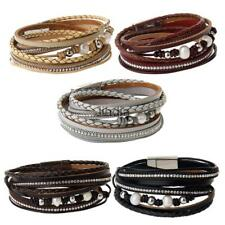Multilayer PU Leather Bracelet Crystal Faux Pearl Wrap Wristband Cuff Bangle