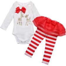Christmas Baby Girls Kids Outfit Set jumpsuit Clothes Romper+Leggings Pants Set