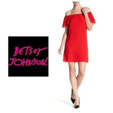 NWT Betsey Johnson Women's  8  10  Red Off The Shoulder Ruffled Dress