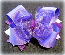 Purple Sparkle Shimmery Glitter Boutique Hair Bow Girls Funky Sheer Hairbow Big